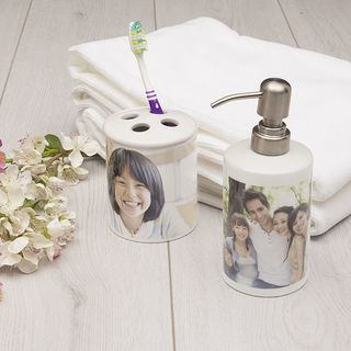 Toothbrush holder and soap dispenser set of two