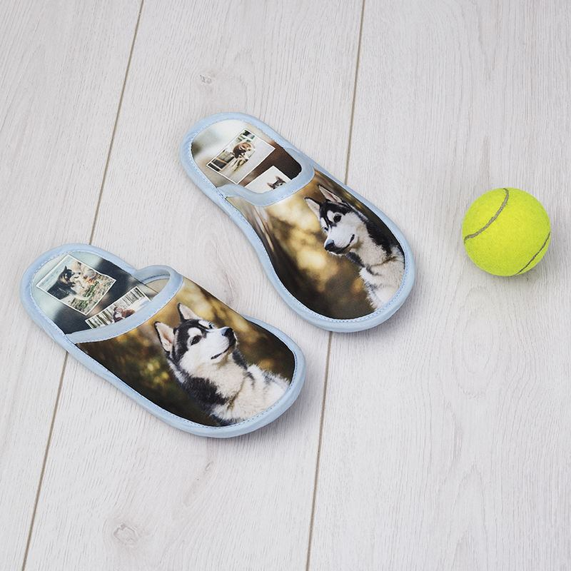 Personalised slippers printed with dog photo