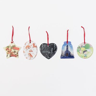 christmas ornament with red ribbon