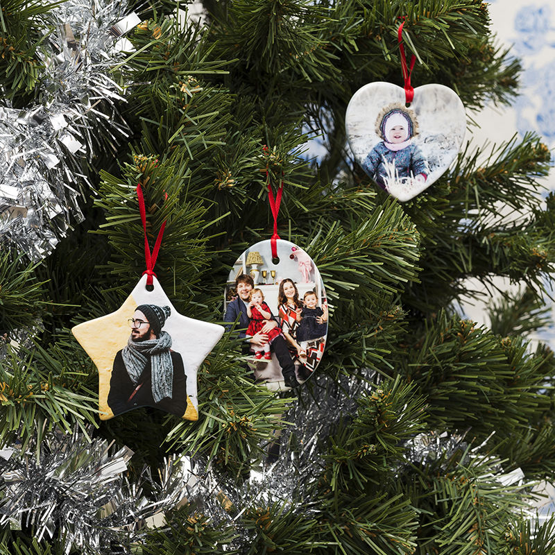 Ceramic christmas ornaments custom photo christmas ornaments for Personalized christmas photo ornaments