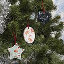 christmas ornaments UK made and printed with a colourful fairylight design