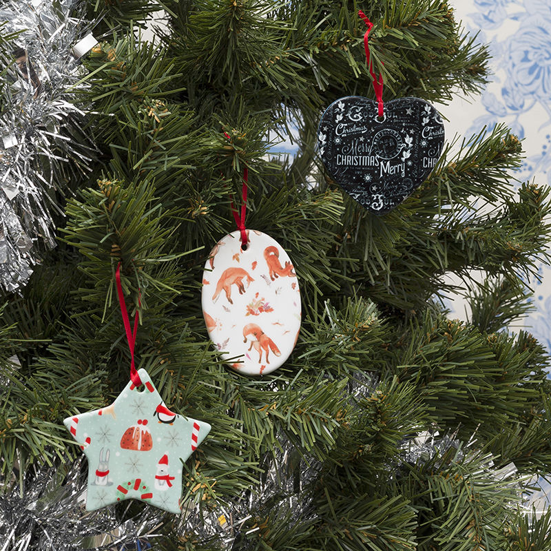 Custom Christmas ornaments made and printed with a colorful fairy light design