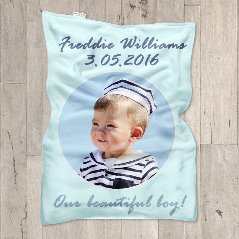 personalised pram blanket printed with photo and text