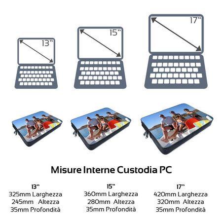 tabella misure custodia portatile personalizzata