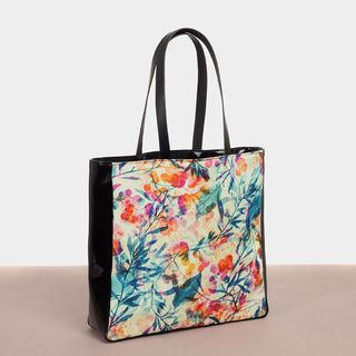 Pattern beach bag black vinyl