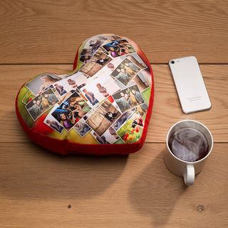 heart pillow custom printed with photo montage for special gift for loved one