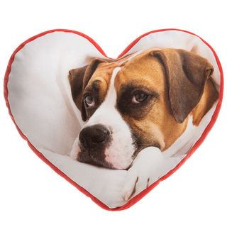 custom heart pillow printed with adorable dog photo