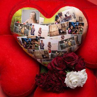 Kissen in Herzform Fotocollage selbst gestalten
