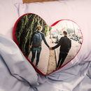 heart cushion personalised with couple holding hands to show companionship and love