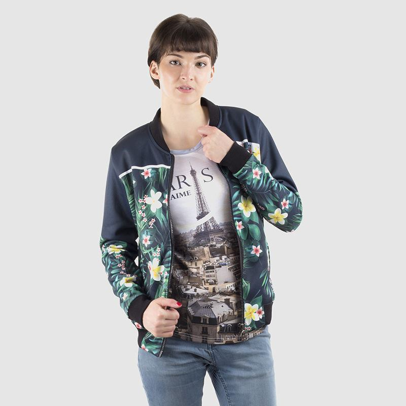 printed bomber jacket women's