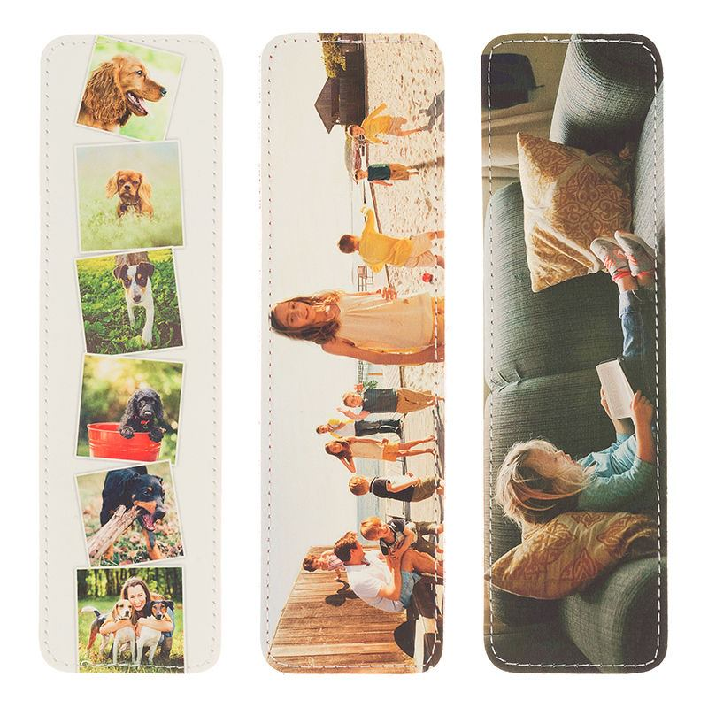 personalised photo bookmarks in leather by bags of love. Black Bedroom Furniture Sets. Home Design Ideas