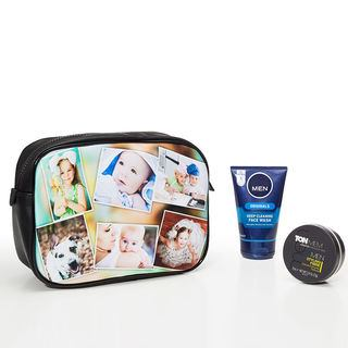 photo wash bag for men