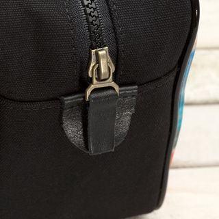 men's wash bag black leather