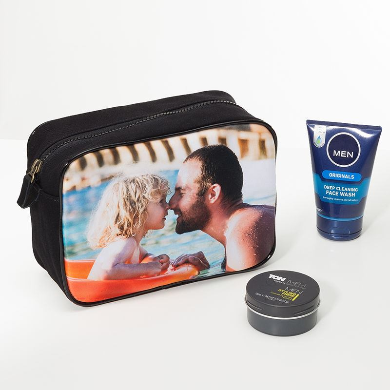 Wash Bag for Men Personalised With A Photo. Mens Photo Wash Bags