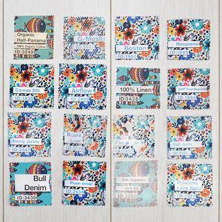 pack échantillons tissus imprimées avec nom