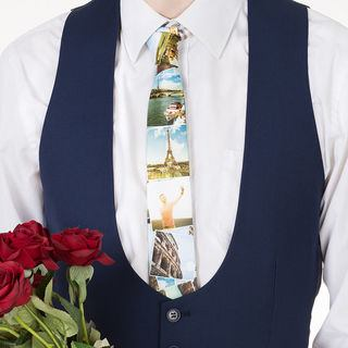 photo montage printed tie