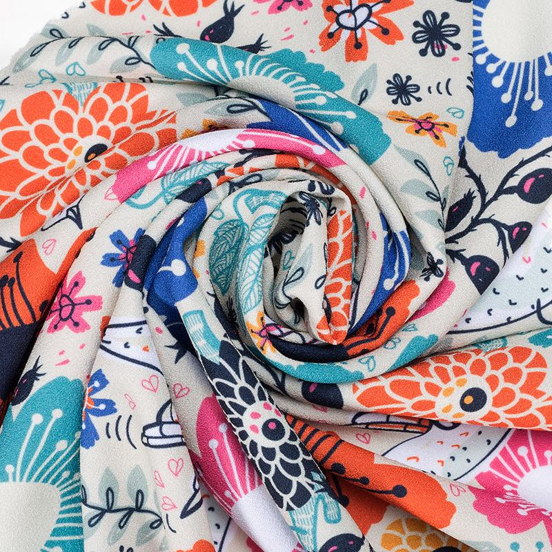 custom printed crepe fabric
