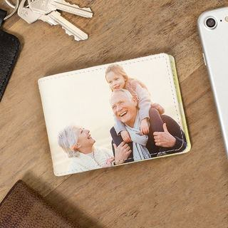 Leather travel card holder photo personalised