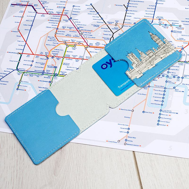 Leather Card Holder Personalised Travel Card Holder - Create your own travel map