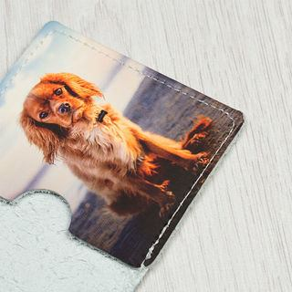 travel leather card holder printed with dog