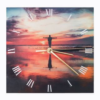 custom photo clock with gold hands and roman numerals