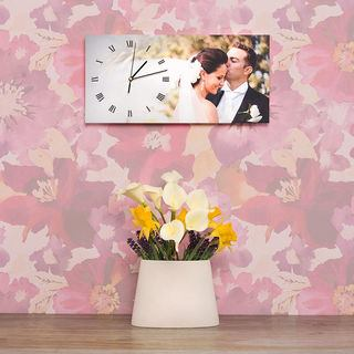 Rectangular clock wedding design love flowers