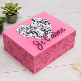 Boîte à bijoux avec montage photos et texte