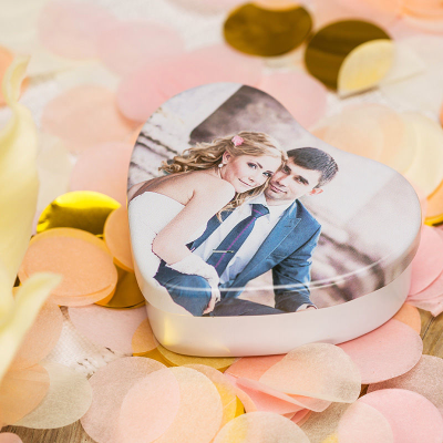 personalised wedding heart shaped tins