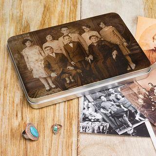 Boîte en métal plate personnalisée famille