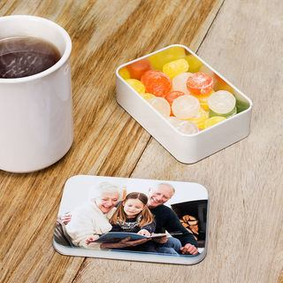 Printed silver sweet tin your photo