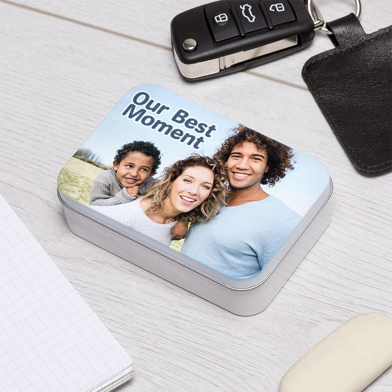 Silver tin personalise with your photo