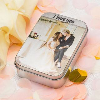 Wedding printed silver tin with your message