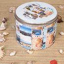 Round Photo printed Tin holiday montage