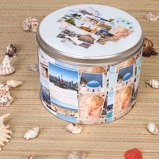 Round Photo printed Tin holiday montage