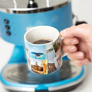 Espresso mug print with holiday photo montage