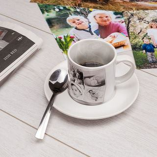 Photo montage printed cups with saucer