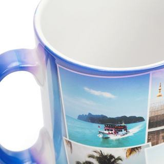 handle detail of holiday photo montage printed mug