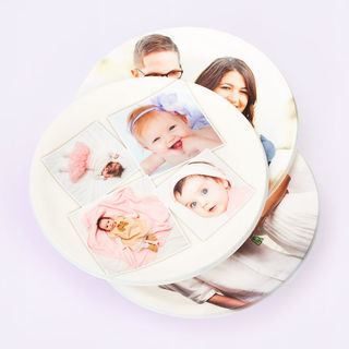 personalised round family photo tray