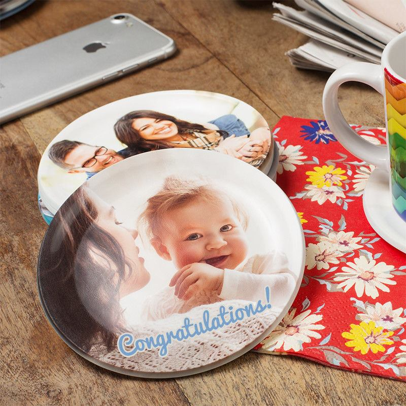 baby photo coffee coaster round