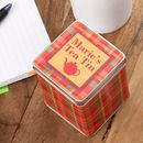 Tea Tin with your text tartan