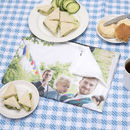 Personalised tea towel for a picnic