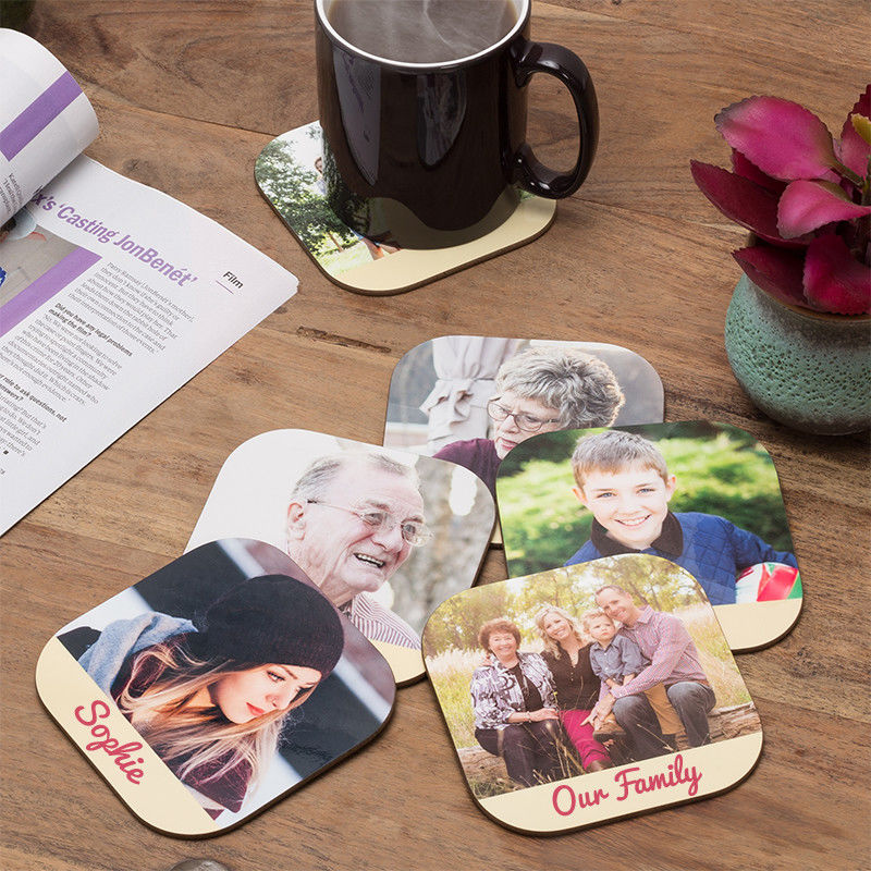 Birthday gift Personalised Printed Coaster Photo Collage your own photos