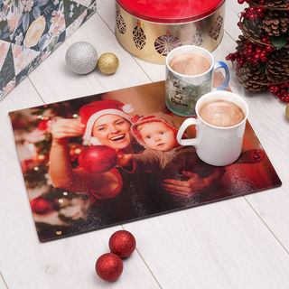 Christmas glass chopping board with mugs