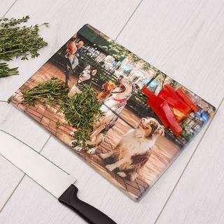 kitchen cutting board personalised with dog photos