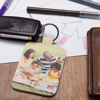 leather photo keyring for car keys