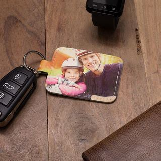 father and daughter photo leather keyring