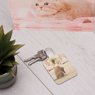 pet photo frame leather keyring printed with cat image