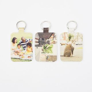 Three keyrings leather printed both sides