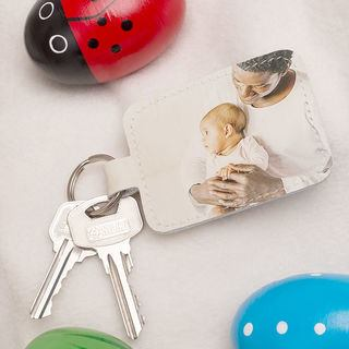leather key ring baby photo
