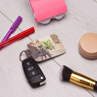 leather photo frame keyring for girls handbags